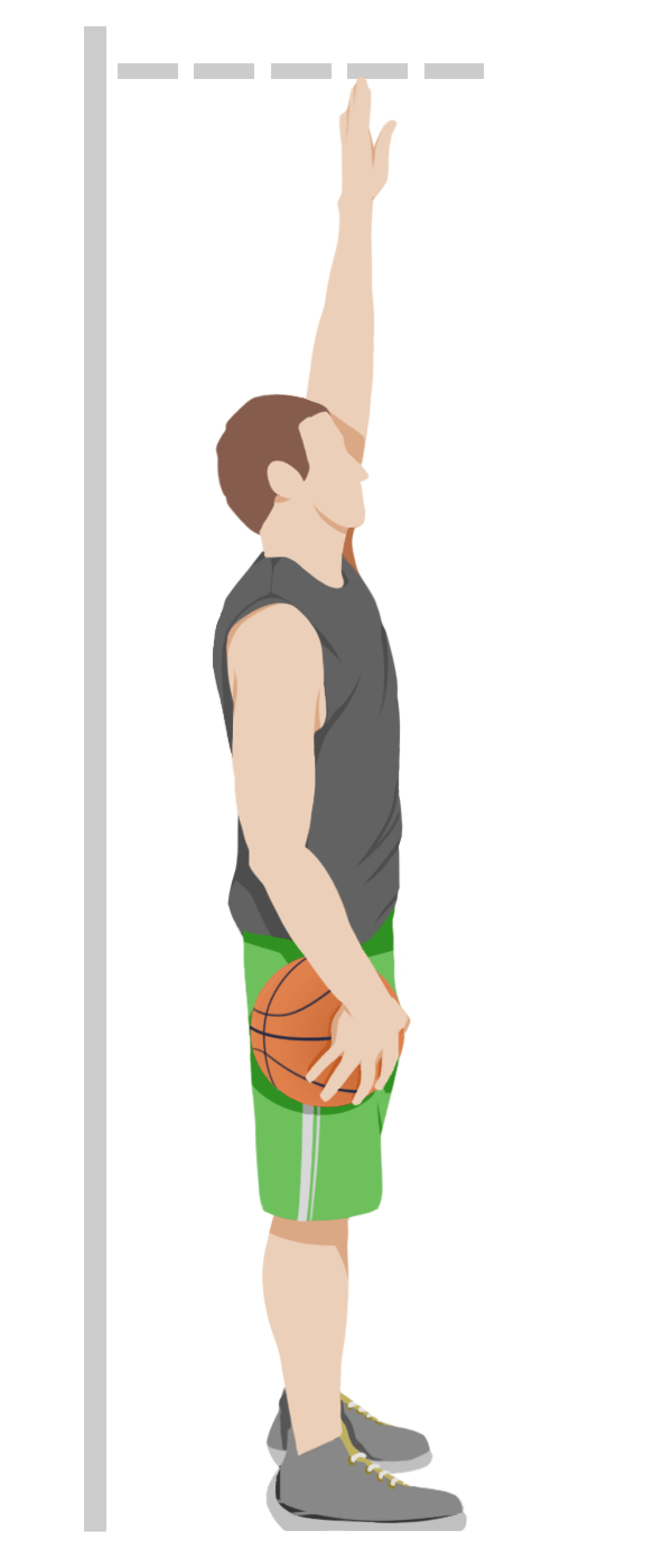Basketball Player Measuring standing reach